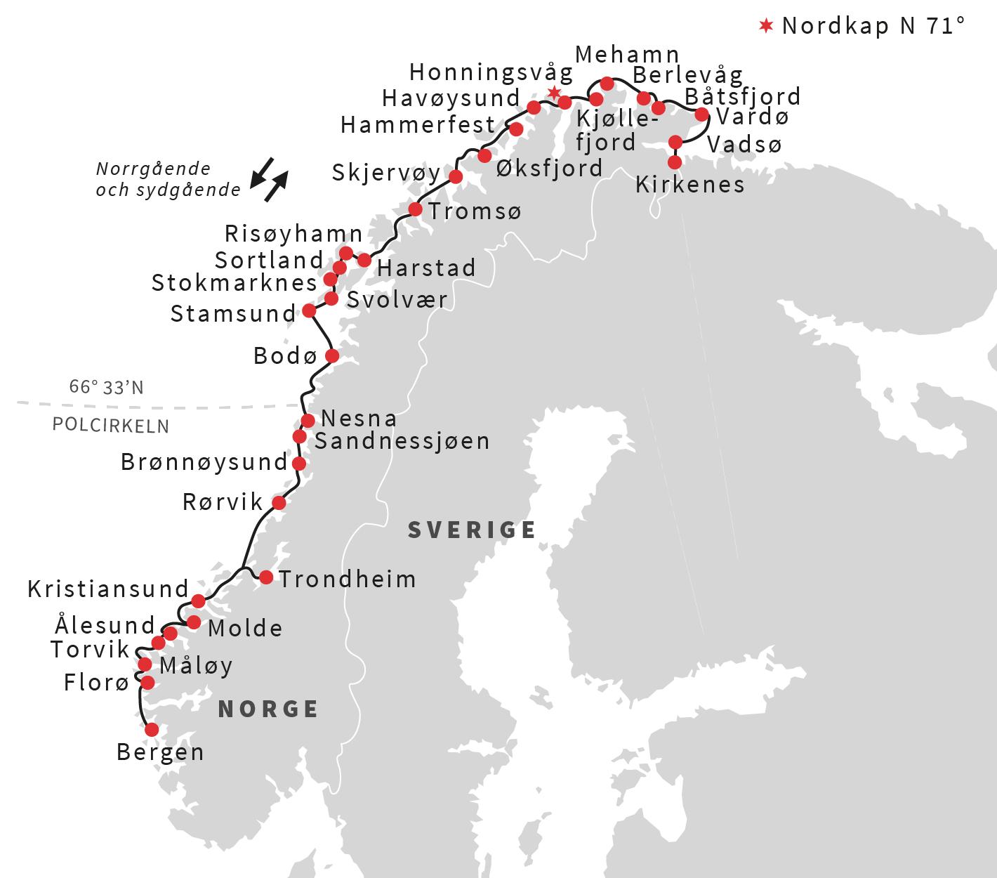 sevärdheter norge karta Den klassiska rundresan, Bergen – Kirkenes – Bergen | Hurtigruten SE sevärdheter norge karta