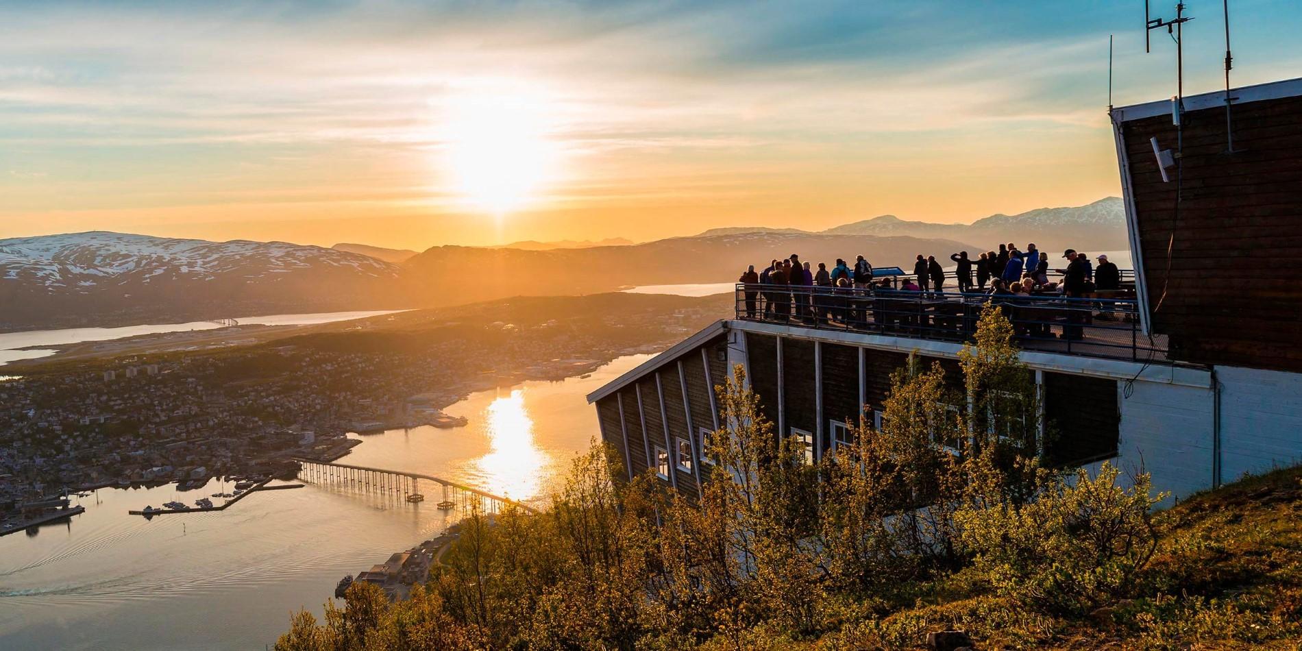 View of Tromsø under the midnight sun